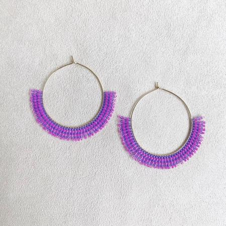 Betty Alida Beaded Hoop Earrings - Purple