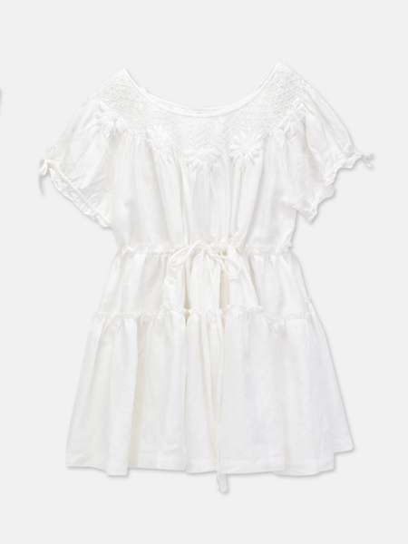 Innika Choo MINI SMOCK COLLAR DRESS - WHITE