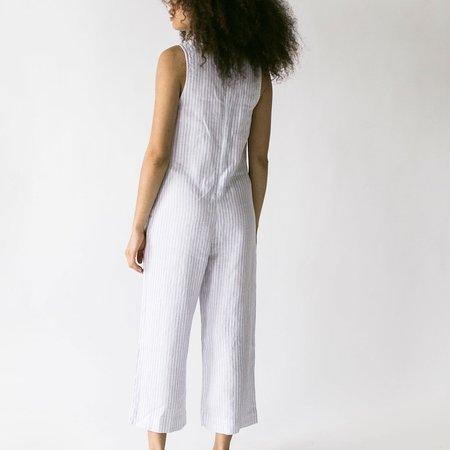 Suunday Linen Jumpsuit - Grey Stripe