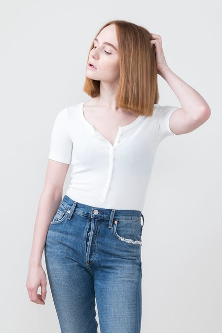 Getting Back To Square One Short Sleeve Henley Bodysuit - Ivory