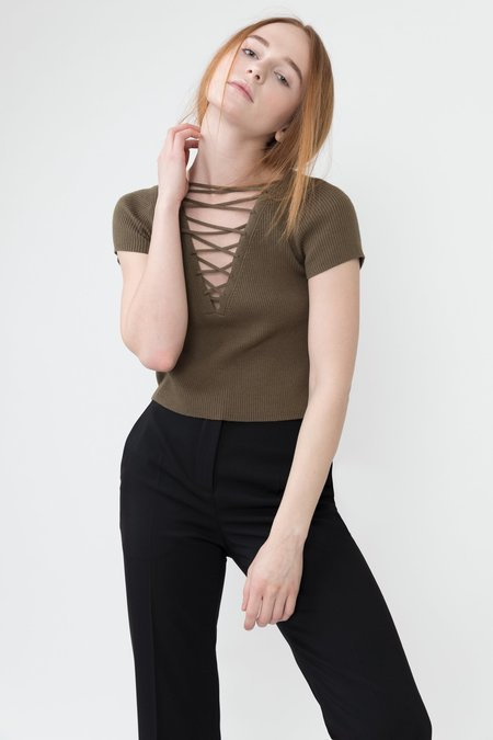 Alexander Wang Lace Up Cropped Tee - Military