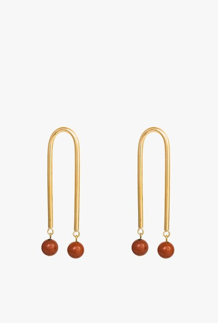Artifacts Red Jasp Long Arch Earrings - Brass