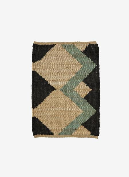Tantuvi No. 3 Aqua Hemp Rug - Black/Light Blue