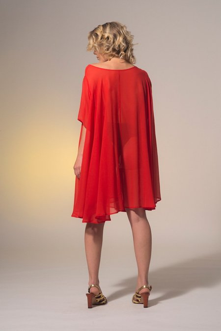 Miss Crabb Rise Dress - Sheer Red