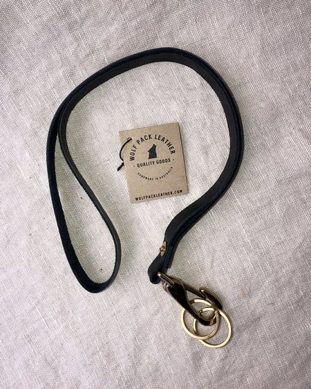 WOLF PACK LEATHER LEATHER LANYARD - Black