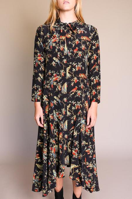 No.6 Nessa Tie Dress - Black English Pheasant
