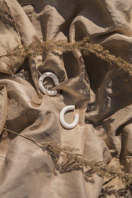 Christl Hammerand Hoop Earring - White