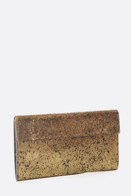 Zilla Metallic Leather Travel Wallet - Brass