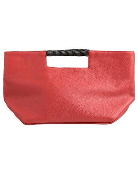 Oliveve ella wrap handle clutch - crimson buffalo cow leather