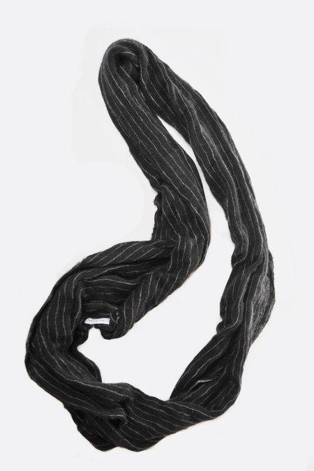 Botto Giuseppe Cashmere Tube Scarf - Black pinstripe