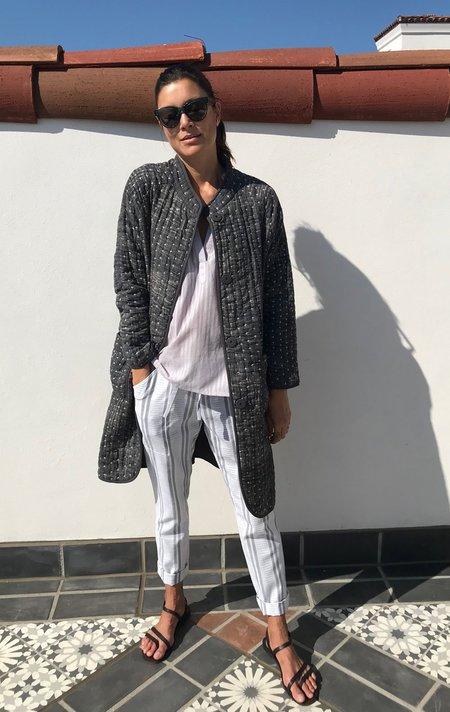 Two collab with Neeru Kumar Kantha Button Coat - Grey