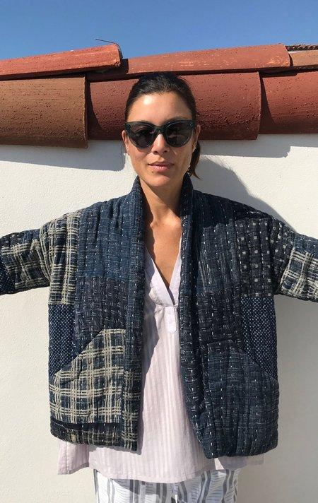 Two + Neeru Kumar collab Patchwork Kantha Jacket - Indigo
