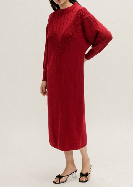 New Classics Vintage Knit Sweater Dress - Red