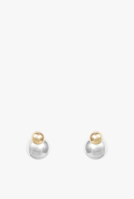 Honey & Bloom Mixed Metal Spheres Earrings - 14k Gold / Sterling Silver