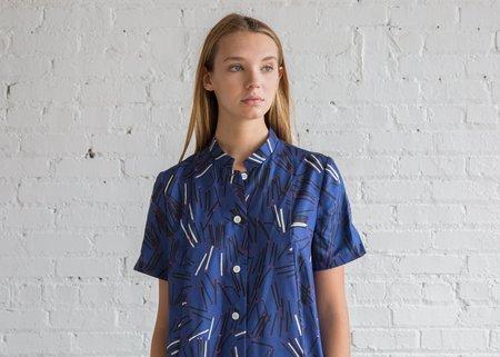 Raquel Allegra Matchstick Twill Mandarin Shirt Dress - Royal Blue