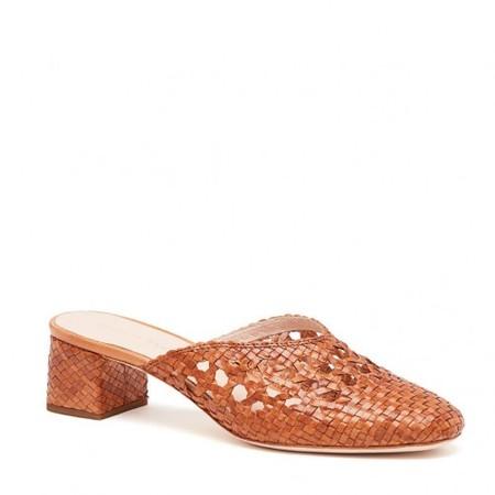 Loeffler Randall Lulu Woven Leather Square Toe Mule - Timber Brown