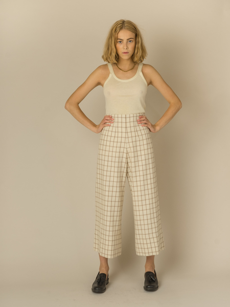 Caron Callahan Ellis Pant in Ivory Wool/Poly Plaid