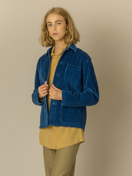 Caron Callahan Krasner Coat in True Indigo Corduroy