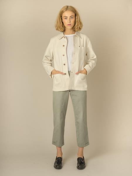 Caron Callahan Krasner Coat in Ivory Cotton Denim