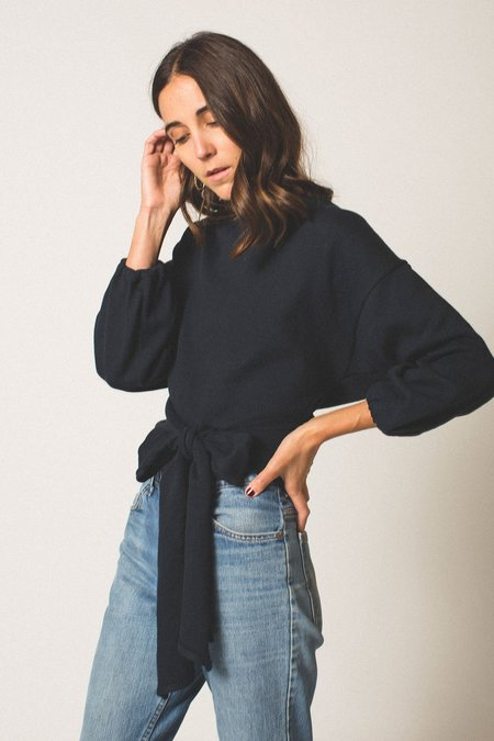 Hackwith Design House Ballon Sleeve Reversible Wrap Sweater - Midnight Blue