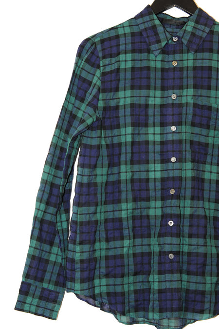 Jenni Kayne Cotton Boyfriend Shirt - NAVY/GREEN