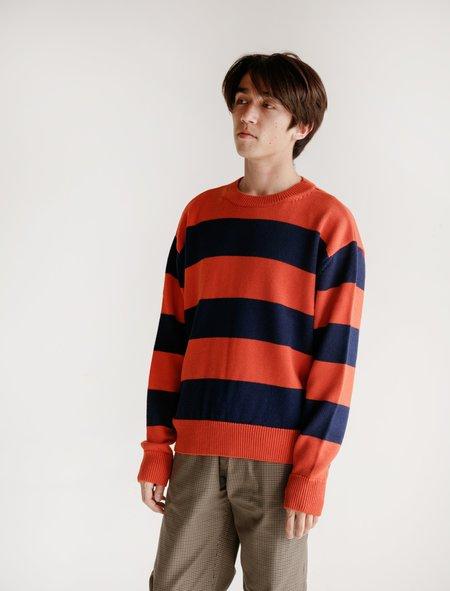 Tres Bien Drop Shoulder Stripe Knit - Blue/Orange