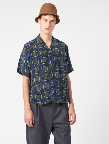 OTHER/man Jacob Silk Shirt - GREEN/BLUE