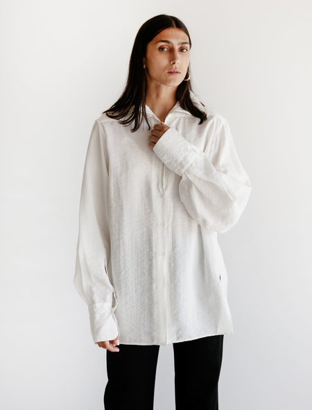 Lemaire High-Collar Shirt - Dry Silk Chalk
