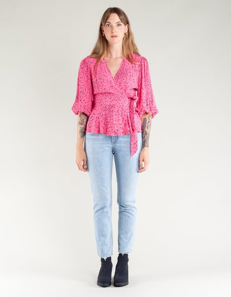 Ganni Barra Crepe Wrap Blouse - Hot Pink