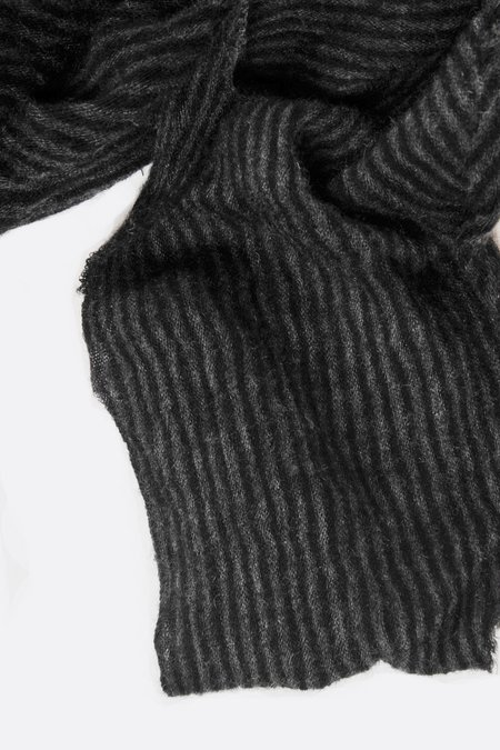 Botto Giuseppe Diamond Cashmere Scarf - Black/Grey Melange Stripe