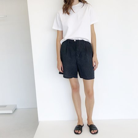 Johan Vintage Contrast Stitch Linen Shorts - Black