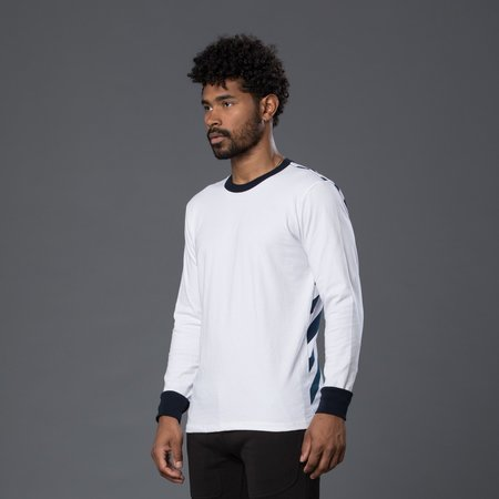 Freemans Sporting Club Long Sleeve Printed Tee - White and Dark Navy