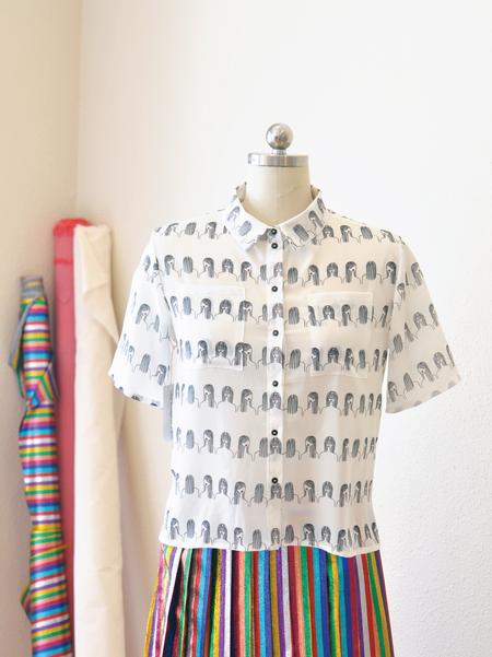 One Imaginary Girl Short Sleeve Blouse - It Girl Print