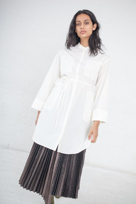 Rito Long Shirt with Stand Up Collar - White