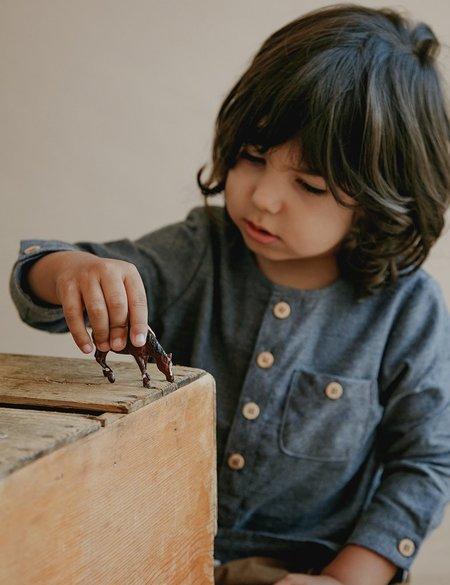 Kids Petits Vilains Theo Classic Henley - Navy Twill