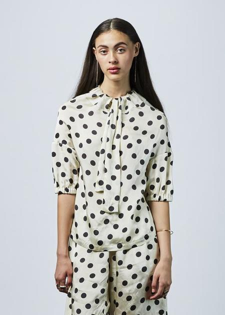 Hache Bow Collar Dot Blouse - cream/black dots
