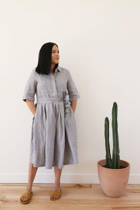 OffOn Clothing Linen Collared Dress - Light Grey
