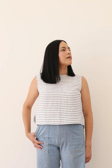 OffOn Clothing Linen Sleeveless Top - Grey/White Stripe