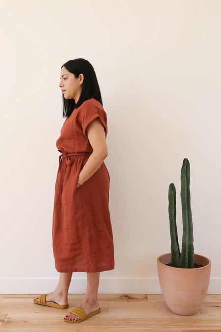 OffOn Clothing Linen Summer Dress - Redwood