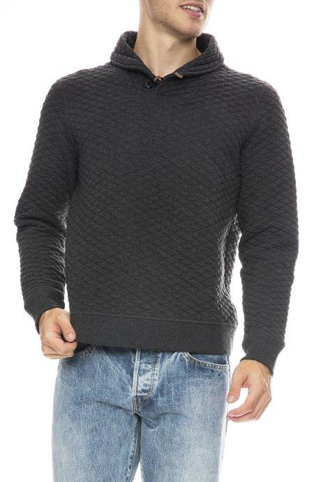 Billy Reid Diamond Quilted Shawl Sweater - BLACK