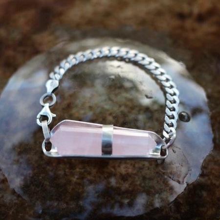 Laurel Patrick Rose Quartz ID Bracelet