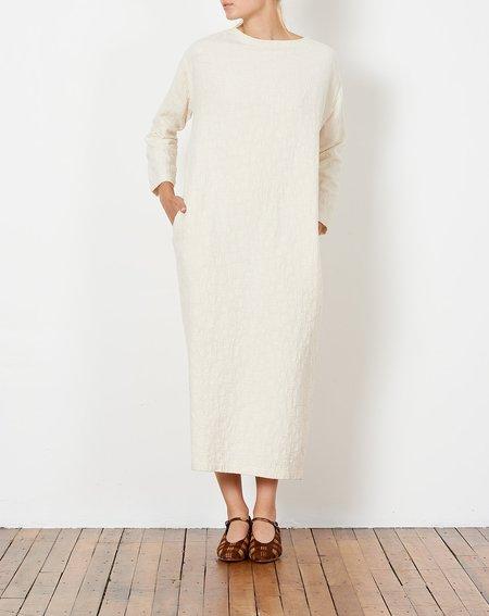 Black Crane Jacquard Dress - Cream