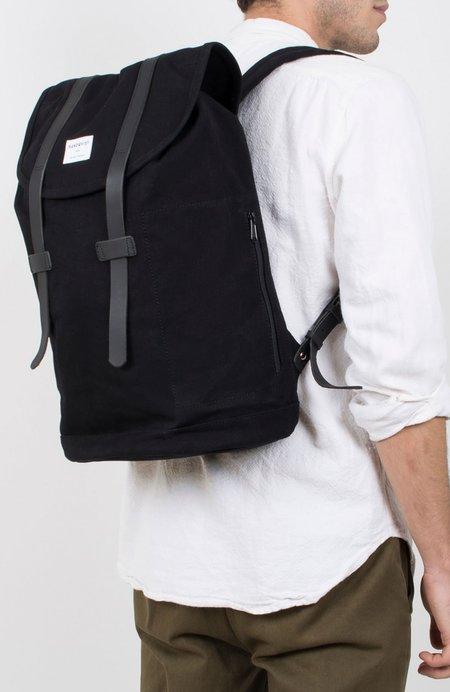 Sandqvist Stig Large Canvas Backpack - BLACK