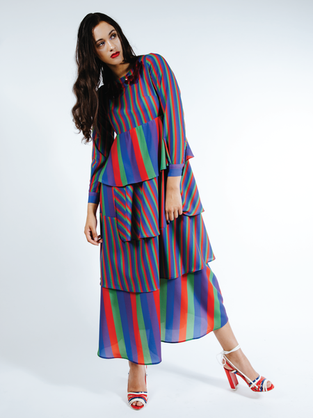 "One Imaginary Girl ""Ariel"" Tiered Maxi Dress - Rainbow Stripe"