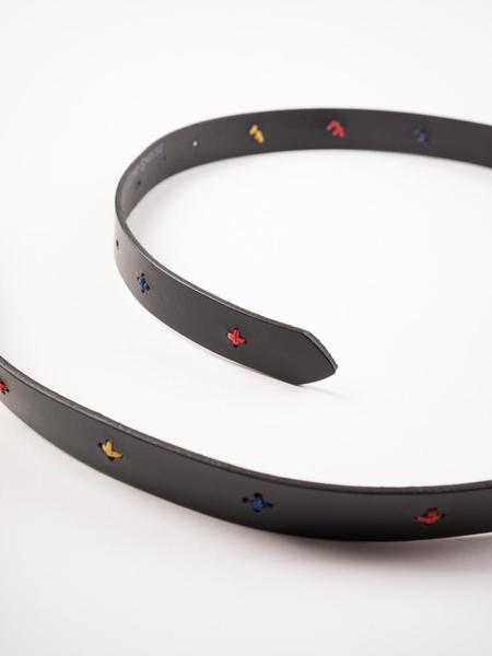 Oliver Spencer Cross Leather Belt - Black