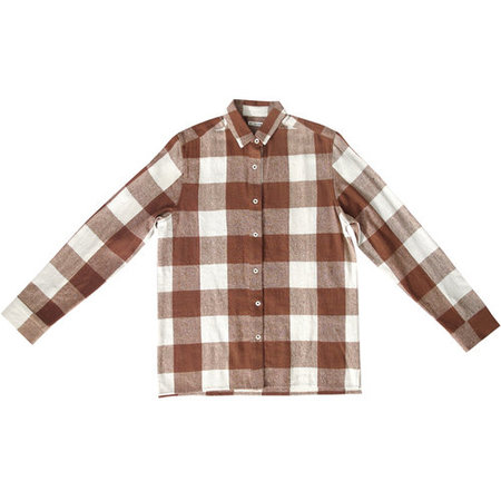Ali Golden Raw Silk Button Down Shirt - Chestnut Plaid