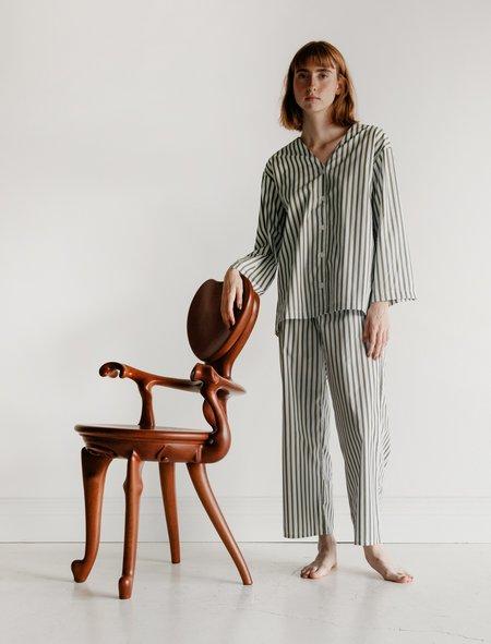 Kinda Sleepwear Mary Set - Green Lawn Stripe