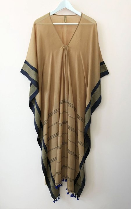 Two Caftan with Pom Pom - Caffe/Silver/Gold