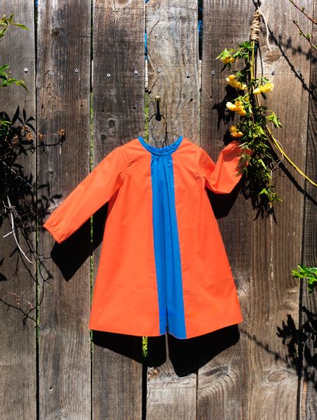 Kids Petit Mioche Organic Long Sleeve Bicolore Dress - Orange/Blue