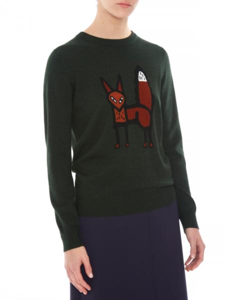 Markus Lupfer Mia Standing Fox Sweater - Forest Green